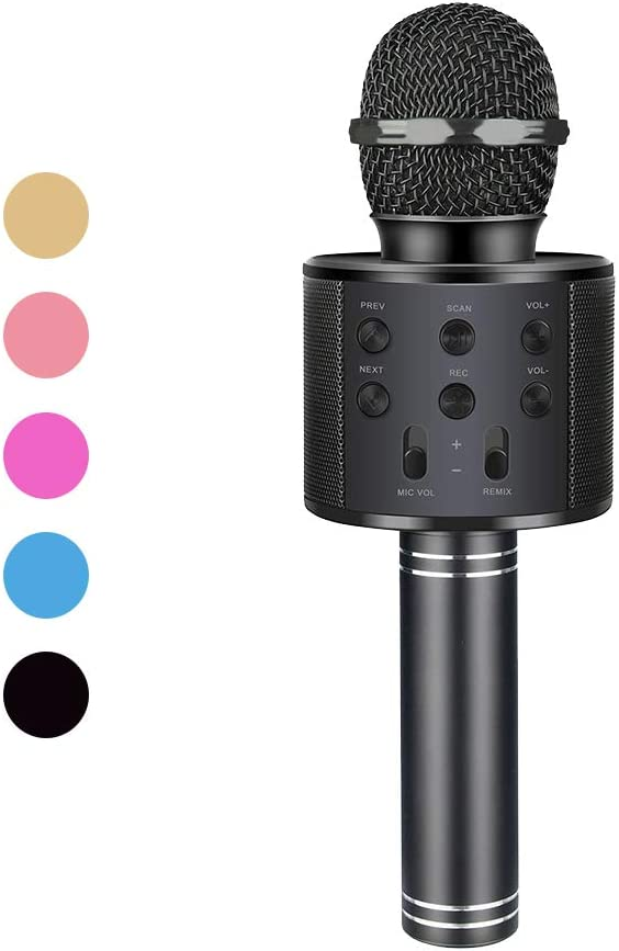 Henkelion Wireless Bluetooth Karaoke Microphone for Kids Kids Karaoke Machine Portable Handheld Mic Speaker Toy Home Party Birthday Graduation for iPhone Android iPad All Smartphone Black
