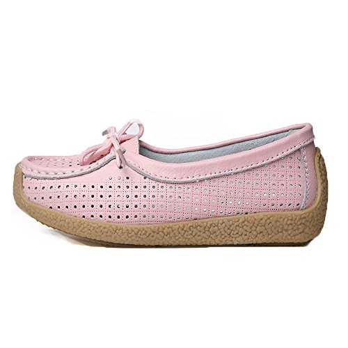 Chaussures De On Cuir Flats Rose Casual Loafers Slip Femmes Confortable Mocassins Conduite 1qxwBCa