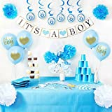 Baby Shower Decorations - It's A Boy Banner and Balloons, Blue Photo Booth Props, Elephant Theme Swirlers, Flower Decor Favors, Party Supplies Set for Boys, All In One Value Bundle