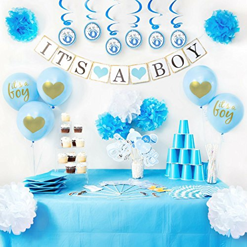 Baby Shower Decorations - It's A Boy Banner and Balloons, Blue Photo...