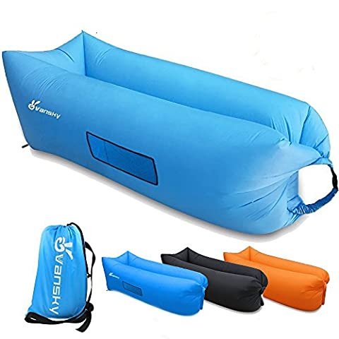 Vansky Inflatable Lounger Hangout Sofa Chair, Hammock Portable Air Filled Couch, Nylon Fabric Waterproof Anti-Air Leaking Carry Bag for Outdoor/Indoor,Camping,Beach,Backyard,Picnics,Music (Portable Air Power)