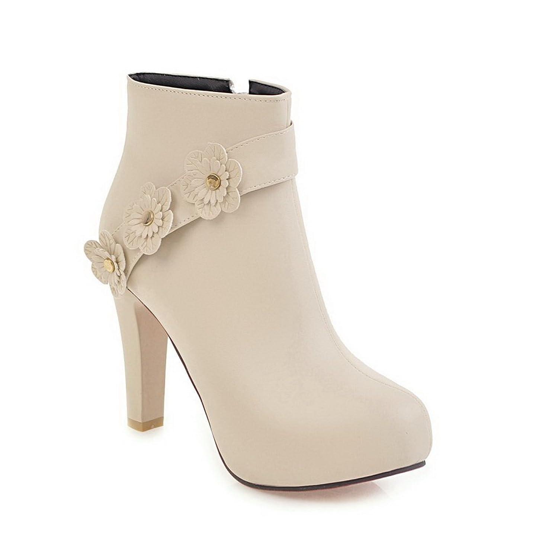AdeeSu Womens Floral High-Heel Zip Ankle-High Urethane Boots SXC02563