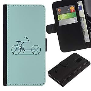 Samsung Galaxy S5 Mini / SM-G800 (Not For S5!!!) Modelo colorido cuero carpeta tirón caso cubierta piel Holster Funda protección - Bike Green Hipster Culture Old