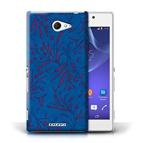 Etui pour Sony Xperia M2 / Bleu/Rose conception / Collection de Motif floral blé
