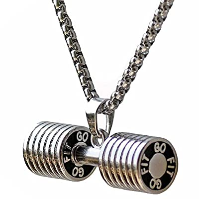 Dumbbell Necklace Stainless Steel Couples Barbbell Pendant Sports Jewelry Valentines' Gift