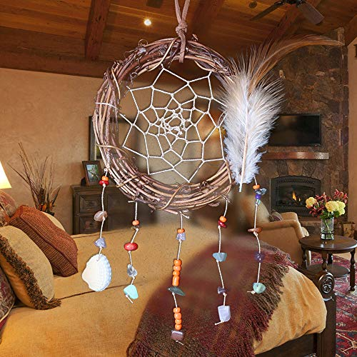 Dream Catcher Handmade Rattan Colorful Beaded Indian Feather Dreamcatcher Wall Hanging Decoration Ornament (White)