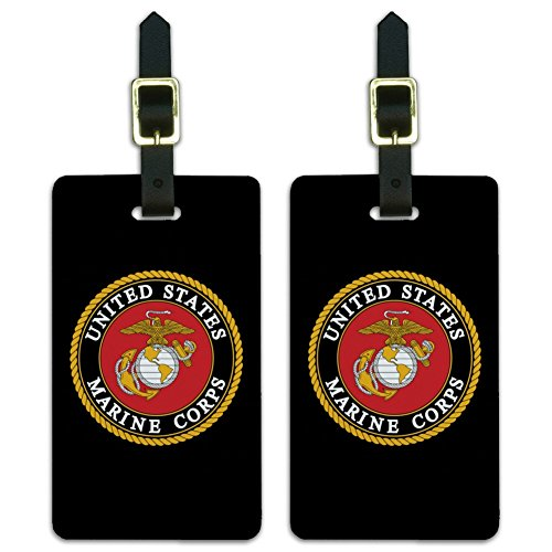 (Marines USMC Emblem Black Yellow Red Luggage ID Tags Cards Set of 2)