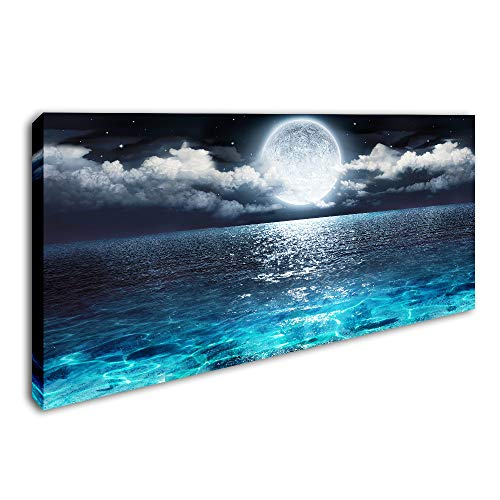 "DVQ ART - Sea Canvas Wall Art Blue Clear Ocean Seascape Giclee Artwork Full Moon in Cloud Landscape Framed Picture Canvas Prints for Living Room Decor - 20""x 40"""