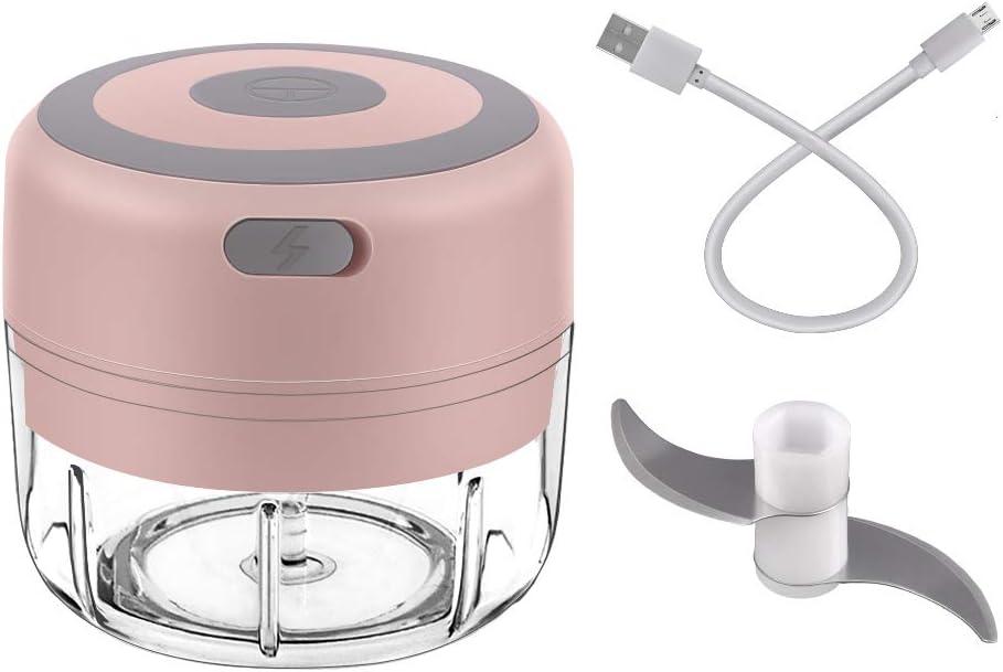Wrdlosy Mini Chopper, Garlic Chopper Mini, USB Charging, Electric Mini Garlic Chopper, Mini Food Chopper, Safe Child Lock, Best Gift for Mom (Pink)