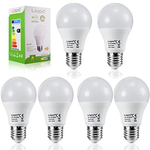 Liqoo® 6er 10W E27 LED Lampe Ersatz für 70W Glühlampe 920lm Neutralweiß 4500K 270° Abstrahlwinkel Energiesparlampe mit CE und RoHs Kennzeichnung TüV Kennzeichnung softes Lichter LED Birne Leuchtmittel