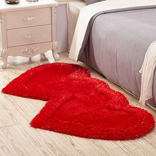 LG-Rug Carpet 3D Cute Double Heart-shaped Living Room Coffee Table Bedroom Bedside Carpet mat (Color : Rose red, Size : 71141 cm(27.9555.51in)) -