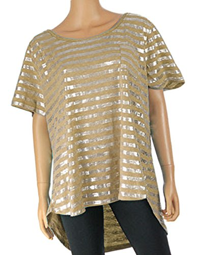 Lane Bryant Women's Scoop Neck Foiled Stripe Top Shirt Plus Size (22/24, Taupe) from Lane Bryant