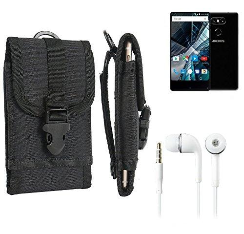 bolsa del cinturón / funda para Archos Sense 55 S, negro + Auriculares | caja del teléfono cubierta protectora bolso - K-S-Trade (TM)