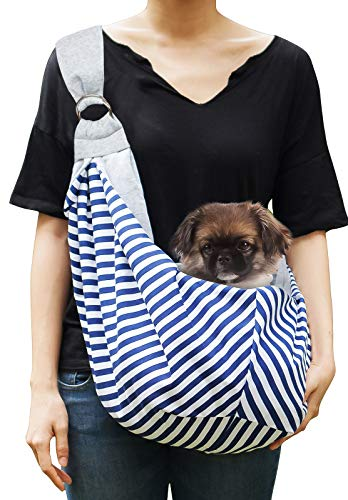 Timetuu Pet Sling Carrier for Small and Medium Dogs or Cats: Reversible Hands-Free Puppy Tote Bag with Adjustable Strap, Pocket and Bonus Carry Bag, 8 to 14 Lbs
