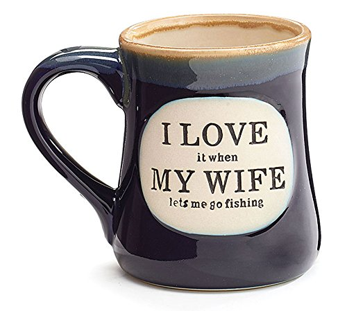 'I Love My Wife' Porcelain 18 oz Fishing Coffee Mug Fun Gift for Our Fisherman