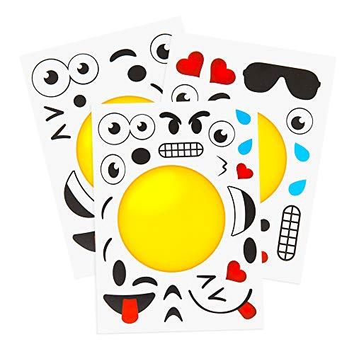 Kids Birthday Favor Stickers (24 Make A Emoji Stickers For Kids: Emoji Party Supplies & Party Favors For Emoji Themed Birthday Parties - Fun Craft Project For Children 3+ - Let Your Kids Get Creative & Design Their Favorite Emoji!)