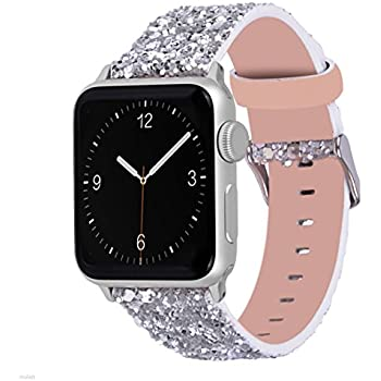 glitter apple watch band wolait luxury pu leather wristband replacement strap for apple watch series1