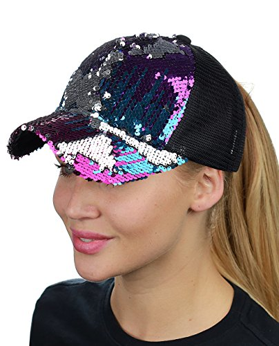 Sequin Baseball Cap - C.C Ponycap Messy Bun Ponytail Reversible Magic Sequin Adjustable Baseball Cap, Purple/Hot Pink/Turquoise/Silver