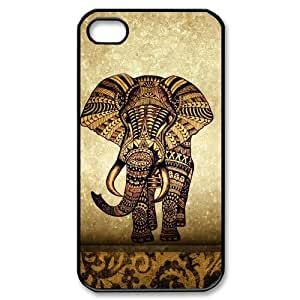 iphone 4/4s Covers Hard Back Protective-Cute Vintage Newspaper Elephant Aztec Floral Trunk Case Perfect as Christmas gift(2)