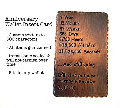 Wedding Anniversary Occasion Wallet Insert Cards- Hand Stamped with Personalized Message or Quote for: 1st, 2nd, 7th, 8th, 9th, 10th, 16th, 19th 22nd, 23rd, 25th anniversary. Antiqued Stamped Brass