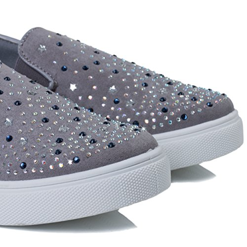 Spylovebuy Bling Bling Damen Diamante Flache Sneaker Schuhe Grau - Synthetik Wildleder