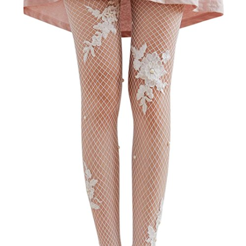 Febecool Women Sexy Hollow Ruffle Fishnet Pantyhose Socks Mesh Lace Fish Net Tights Stockings (White Socks Jeans)
