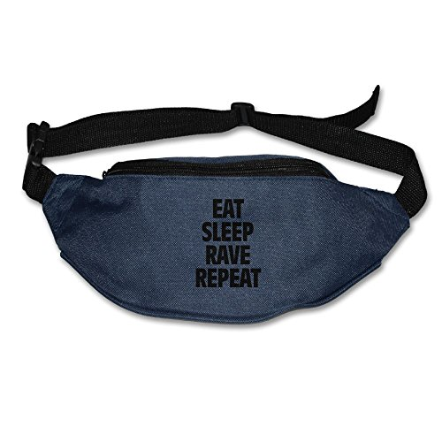 Eat Sleep Rave Repeat Running Waist Pack Bag Travel Sports Purse Pocket For Hiking Climbing Men Women
