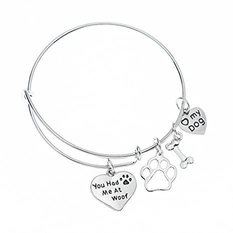 c93668f88142c Infinity Collection Dog Charm Bracelet - Paw Print Jewelry- Dog Lovers  Bracelet- Dog Owner Bangle for Dog Lovers