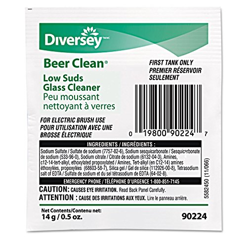 Diversey 990224 Beer Clean Glass Cleaner Powder .5oz Packet 100/Carton