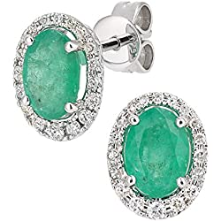 Revoni 9K White Gold Diamond and Emerald Gemstone Oval Cut Stud Earrings