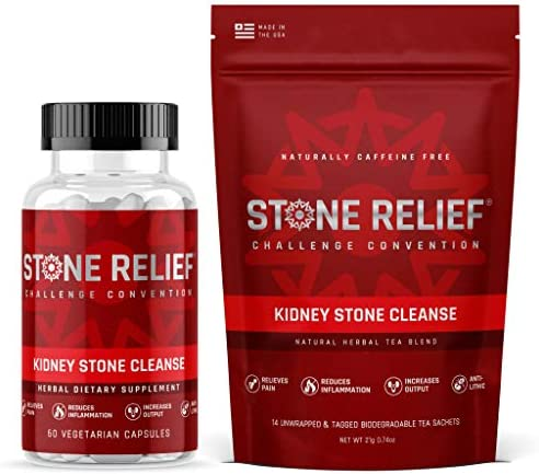 Stone Relief Cleanse   Pass Kidney Stones Faster with Less Pain – Made with Organic Ingredients [Capsules + Tea]