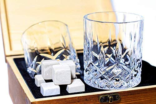 Silver Mountain Whiskey Stones Gift Set – 2 Crystal Glasses 8 Whiskey Stones WHITE STONES NOT GREY Velvet Bag in Elegant Wooden Box – Perfect Gift for Birthday, Mother s Day, Father s Day
