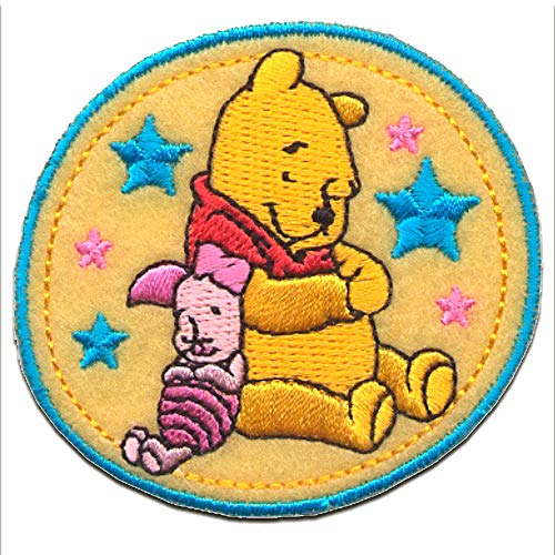 Iron on patches - WINNIE THE POOH 'WINNIE & PIGLET' - yellow - 6,3x5,7cm - by catch-the-patch Application Embroided patch badges