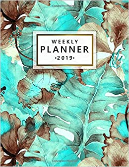 Weekly Planner 2019: Cute Exotic Hibiscus Turquoise Weekly ...