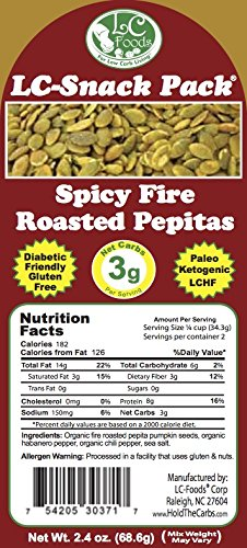 Spicy Pepitas Snack Pack (6 Pack) - LC Foods - Low Carb - All Natural - Paleo - Gluten Free - No Sugar - Diabetic Friendly - 2.4 oz Each
