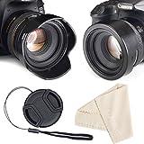 Reversible Tulip Flower Lens Hood for Canon Nikon Sony DSLR + Center Pinch Lens Cap with Cap Keeper Leash + Premium Microfiber Lens Cleaning Cloth Set (52mm)