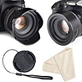 Reversible Tulip Flower Lens Hood for Canon Nikon Sony DSLR + Center Pinch Lens Cap with Cap Keeper Leash + Premium Microfiber Lens Cleaning Cloth Set (77mm)