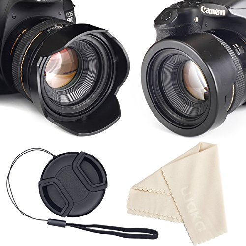 Unique Design Reversible Tulip Flower Lens Hood for Canon Nikon Sony DSLR + Center Pinch Lens Cap with Cap Keeper Leash + Microfiber Cloth Set (55mm)