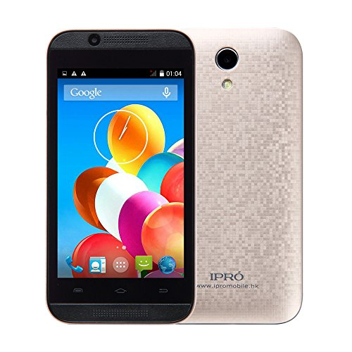 IPRO Wave 4.0 MTK6572 4inch 512M RAM 4GB ROM Dual Core Dual SIM 2G GSM/3G WCDMA Smartphone Celular Android 4.4 Unlocked Mobile Cellphone w/ 0.3MP+2MP Front/Back Camera for Women/Men (Gold)