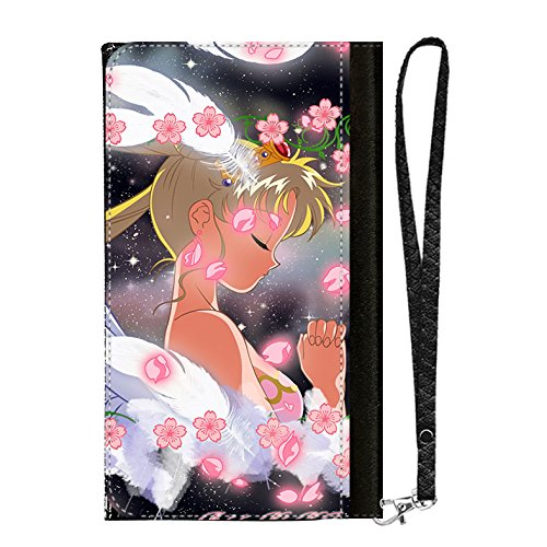 LookSeven Cell Phone Wallet Case,Sailor Moon Pattern All-in-One PU Leather with Multiple Pockets,Card Holder,Wrist Strap for iPhone Samsung LG Android Smart Phones #04