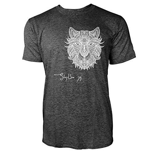 SINUS ART ® Löwenkopf im Ethno Look Herren T-Shirts in dunkelgrau Fun Shirt mit tollen Aufdruck