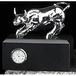 Chrome Plated, Brass Stock Market Bull Statue - Figurine Clock on Black Marble