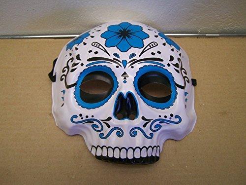 Sugar Skull Masks (Dia de los Muertos Day of the Dead Sugar Skull Halloween Mask - Blue)