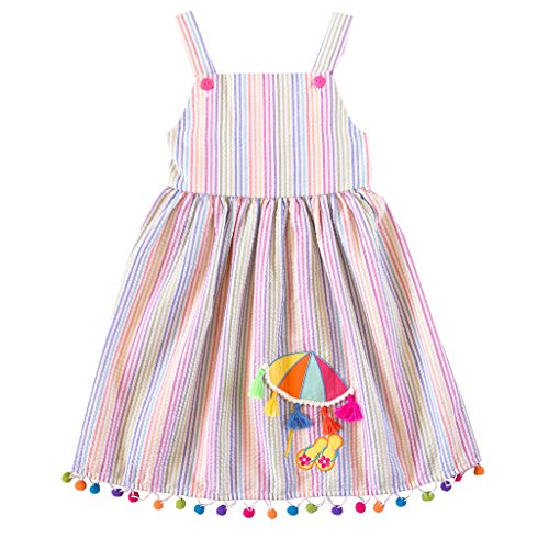 Sundress Seersucker (Good Lad 2/6X Girls Multi-Stripe Seersucker Sundress with Beach Scene Applque (2T))