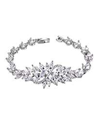 UMODE Jewelry Leaf Design Marquise cut Cluster Cubic Zirconia Cz Tennis Bracelet for Women 6.3""
