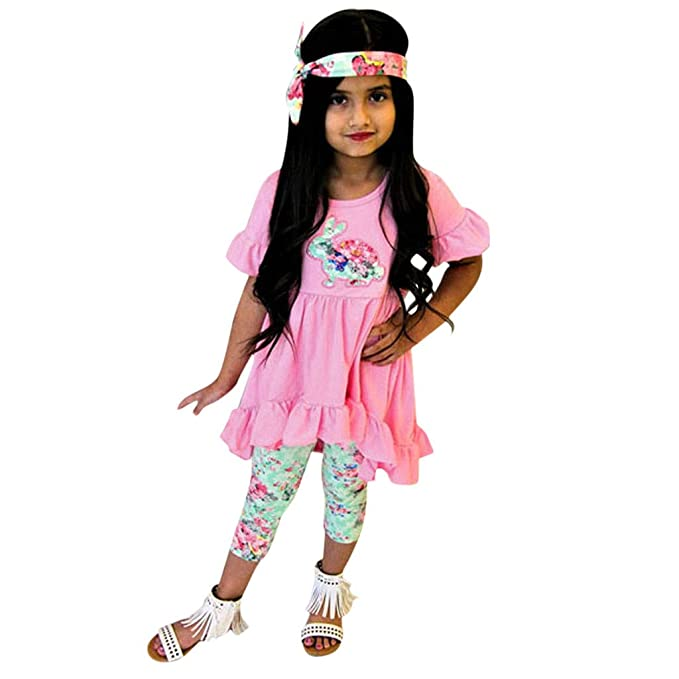 0d5381717f78 Kehen Kid Toddler Girl Summer Clothes Easter Outfit 3pc Short Sleeve Hi-Low Mini  Dress + Leggings Pants + Headband: Amazon.ca: Clothing & Accessories