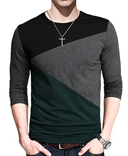 Men's Contrast Color Stitching Crew Neck Long Sleeve BasicT-shirt Top (Tag M= S( US 36 ), Green)