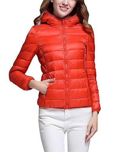 ZhuiKun Down Puffer Jacket Coat Women's Hooded Packable Ultra Light Weight Short Down Outdoor Coat Orange