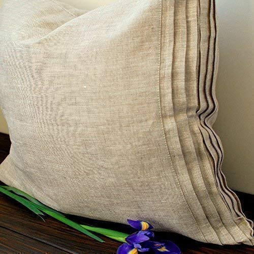 (Natural Linen Pillow Sham with Decorative Pleats- Standard, Queen, King, Euro Sizes -Natural, White or Grey Colors)