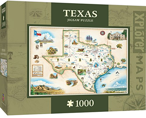 MasterPieces Xplorer Maps Jigsaw Puzzle, Texas, 100% Made in USA, 1000 Pieces